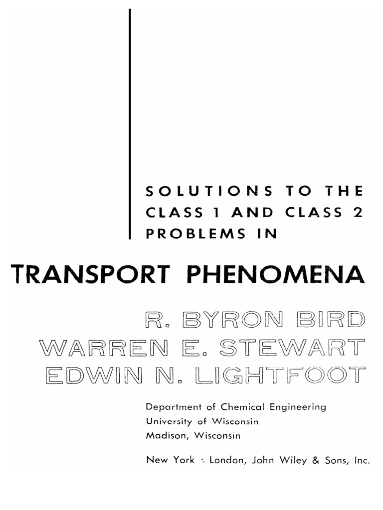 transport phenomena bird solution manual pdf