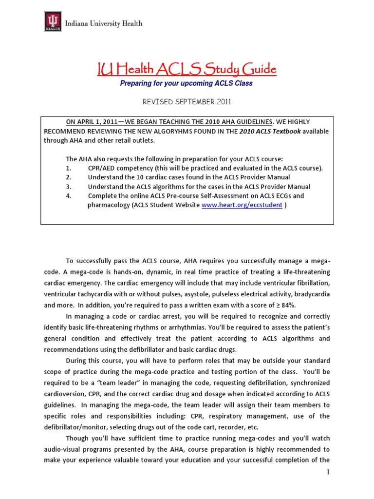 Acls Study Guide September 2011 | Cardiopulmonary Resuscitation | Cardiac  Electrophysiology