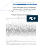 An Assessment of the role of Financial literacy on Performance of Small and Micro Enterprises