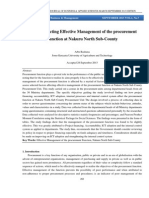 Factors Affecting Effective Management of the procurement Function at Nakuru North Sub-County