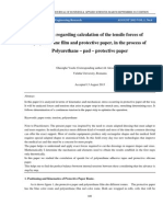 Research regarding calculation of the tensile forces of polyurethane film and protective paper, in the process of polyurethane – pad – protective paper