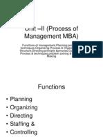 Unit –II (Process of Management MBA