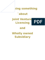 Joint Venture Licensing n wholly Owned Subsidiary