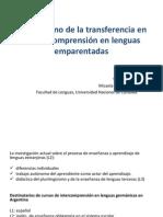 El fenómeno de la transferencia en la intercomprensión