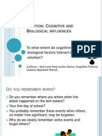 To What extent do cognitive and biological factors react in emotion?