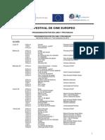 Programacion Dia a Dia del 25 Festival de Cine Europeo de Lima, Peru