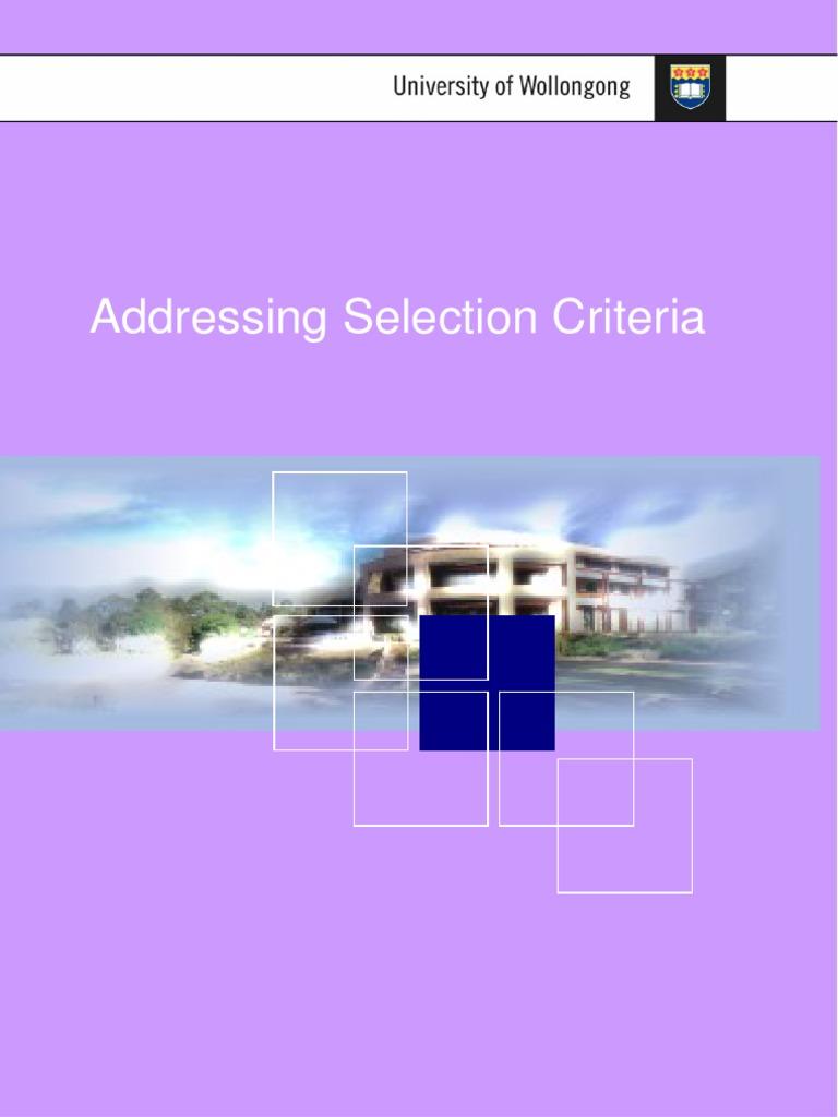 Problem solving skills selection criteria