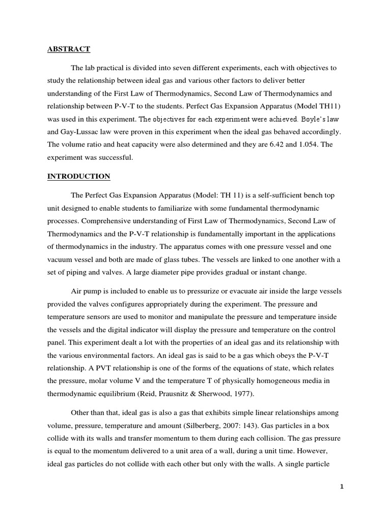 The Perfect Gas Expansion Experiment TH 11 Entropy – Gay Lussac Law Worksheet