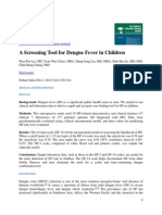 The Pediatric Infectious Disease Journal a Screening Tool for Dengue Fever in Children