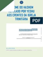 O NOME DO HASHEM REVELADO POR YESHU AOS CRENTES DA IGREJA TRINITÁRIA
