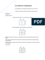 Lattice Method for Multiplication