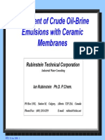 Treatment of Crude Oil-Brine Emulsions With Ceramic Membranes