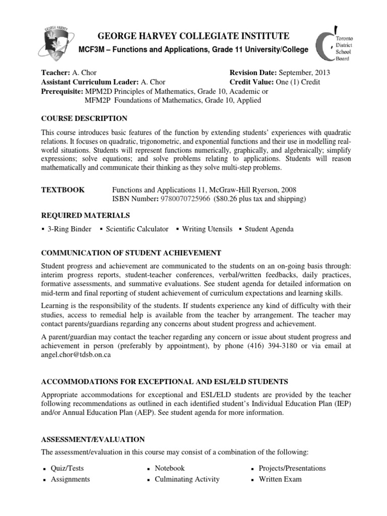 mcf3mcourseoutline2013 chor   Curriculum   Educational Assessment