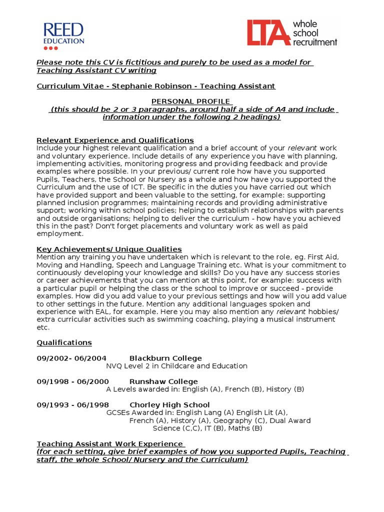 model cv teaching assistant 2012