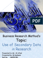 Use of Secorndary Data in Research by M.hashaam