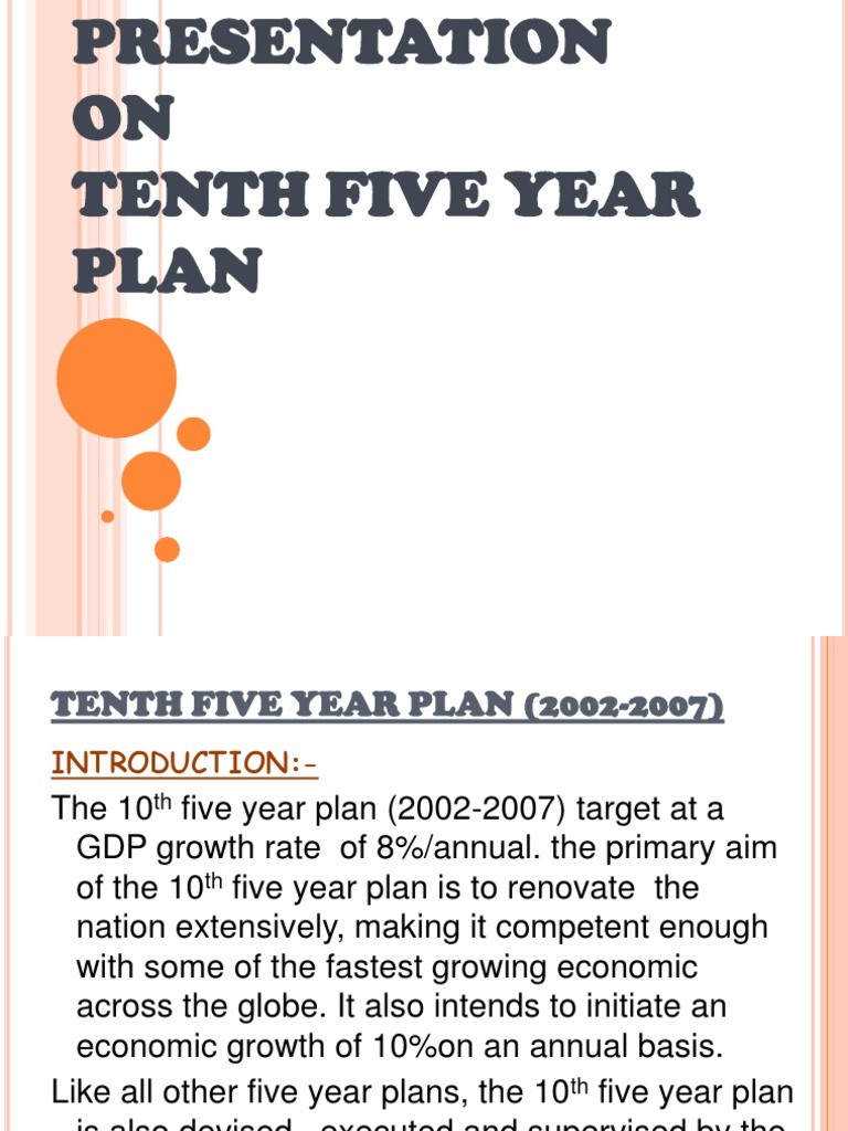 tenth five year plan