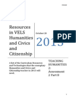 resources in vels humanities and civics and citizenship