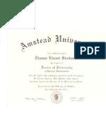 Diploma Pos Graduacao Phd b a Amstead