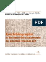 Leitz_Kurzbibliographie zu den übersetzten Tempeltexten der griechisch-römischen Zeit_2011