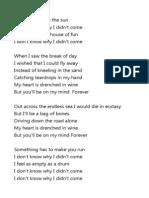 don't know why lyrics