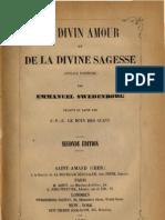 Em Swedenborg DU DIVIN AMOUR et DE LA DIVINE SAGESSE Ouvrage Posthume LeBoysDesGuays 1860