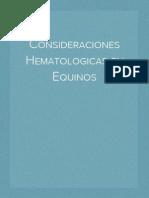 Consideraciones Hematologicas en Equinos