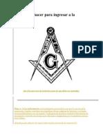 Qué debo hacer para ingresar a la masonería
