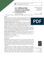 Entrepereneurial intensity in communities