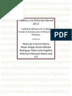 Cambios a La Reforma Laboral 2012
