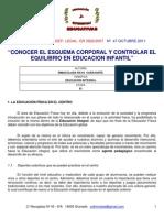 Conocer El Esquema Corporal y Controlar El Equilibrio en Educacion Infantil