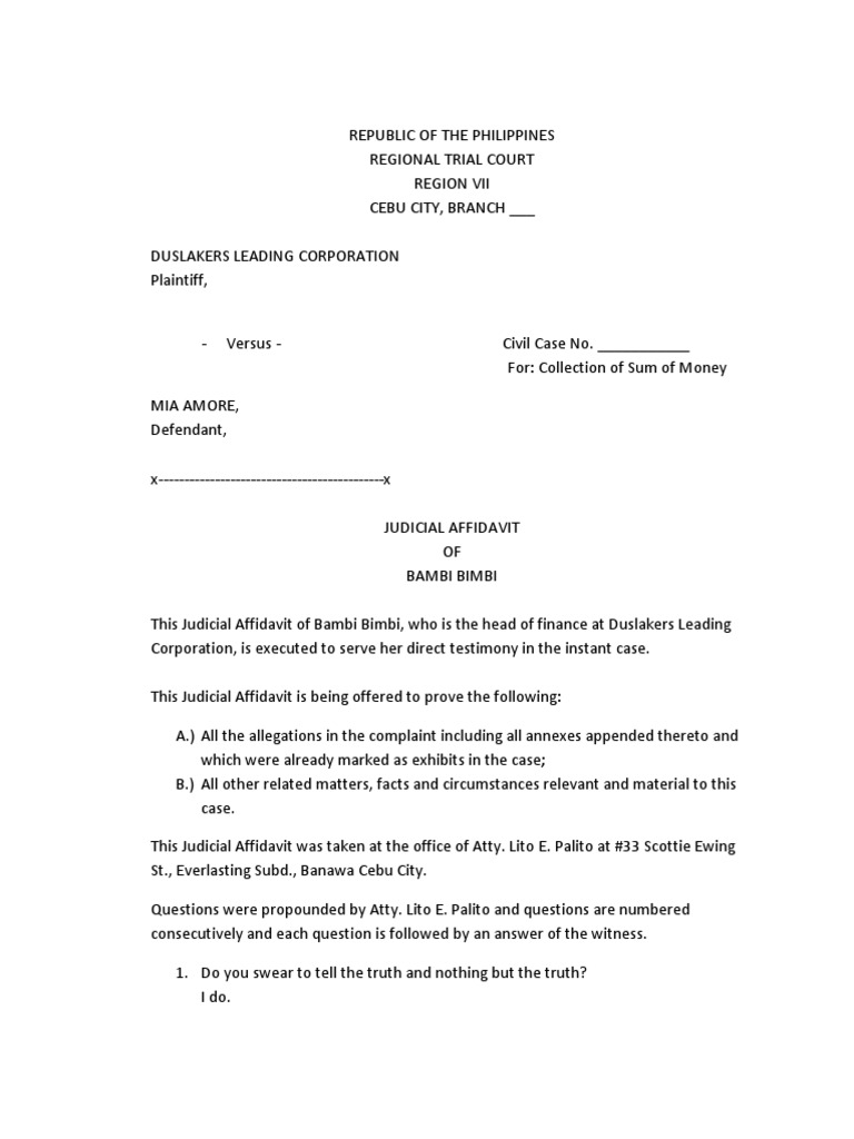 Sample Judicial Affidavit | Perjury | Affidavit  How To Write A Legal Affidavit