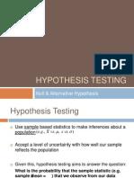 Week 6 - Hypothesis Testing