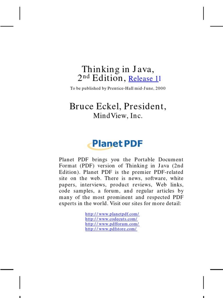 Bruce Eckel Thinking In Java 3rd Edition Pdf