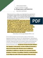 Diversity Disagreement Democracy