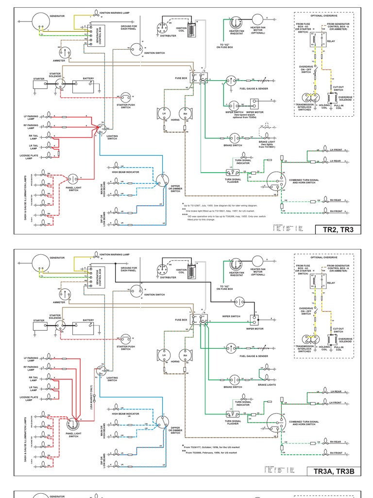 wiring diagrams for tr2, tr3, tr4 and tr4a | rear wheel drive vehicles |  machines