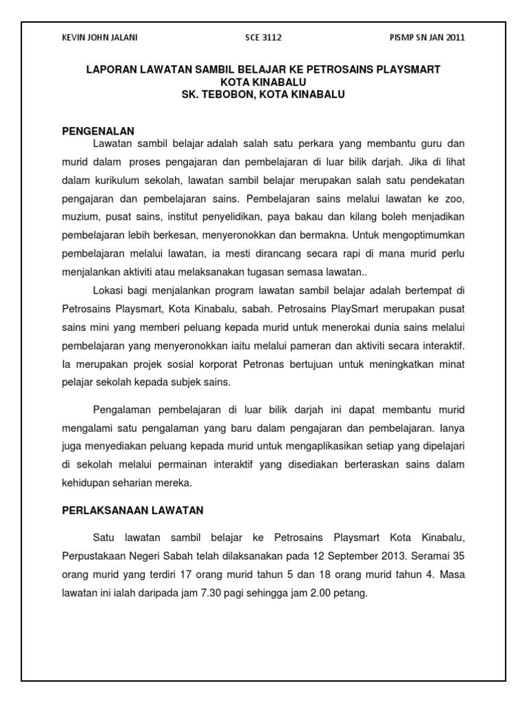 Laporan Lawatan Sambil Belajar Ke Petrosains Playsmart