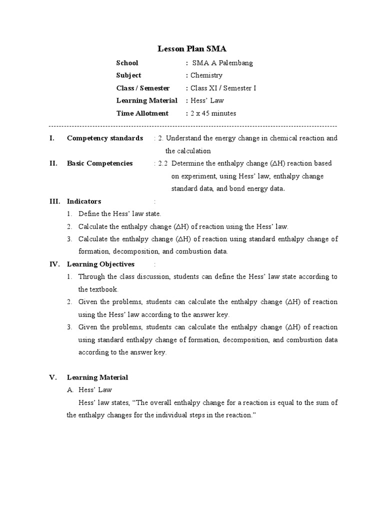 Worksheets Hess Law Worksheet lesson plan hess law 90 from mr tono enthalpy chemistry