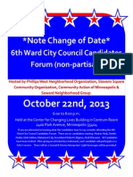 October 22nd Ward 6 Candidate Forum Flyer!