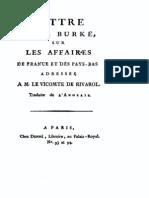 Edmund Burke, Lettre sur les affaires de France et des Pays-Bas à Rivarol