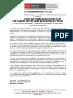 PERÚ Y FRANCIA SUSCRIBEN DECLARACIÓN PARA FORTALECER COOPERACIÓN EN SEGURIDAD INTERIOR