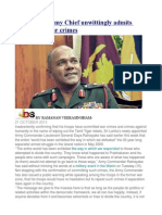 Sri Lankan Army Chief Unwittingly Admits Committing War Crimes