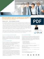 Obtiene DUX DILIGENS Certificación ISO 20000