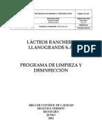 PROGRAMA DE LIMPIEZA Y DESINFECCIÓN 2012