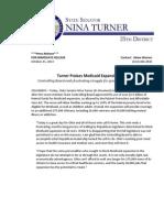 PRESS RELEASE - Turner Praises Medicaid Expansion Vote