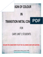 Transition Elements - Origin of Colour