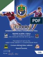 2013 JF Hanley IFC Final Programme