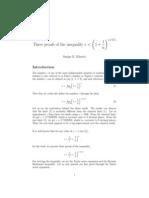 Khattri-Three proofs of the inequality e <  (1 +1/n)**n+0:5