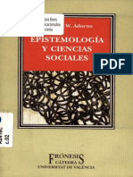 Adorno, Theodor - Epistemología y Ciencias Sociales