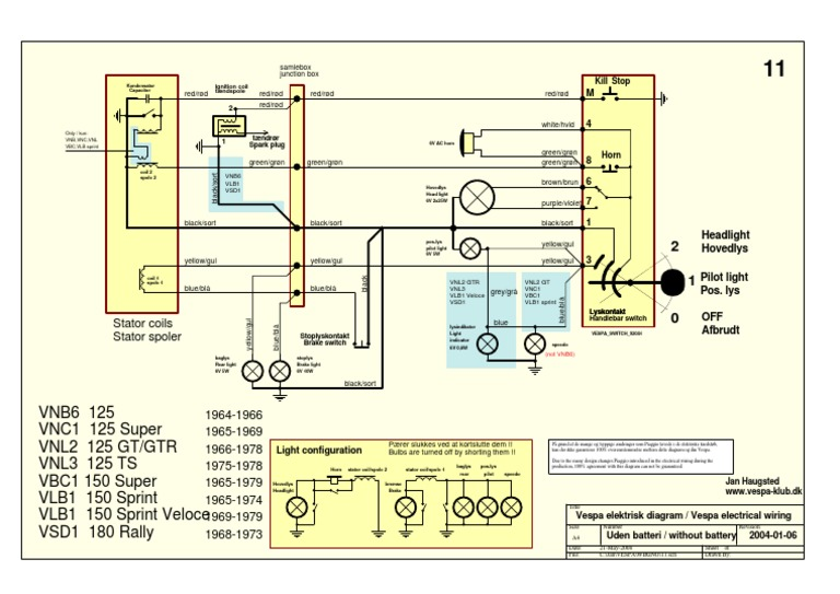 Vespa Wiring Diagram - Wiring Diagram Schematics on