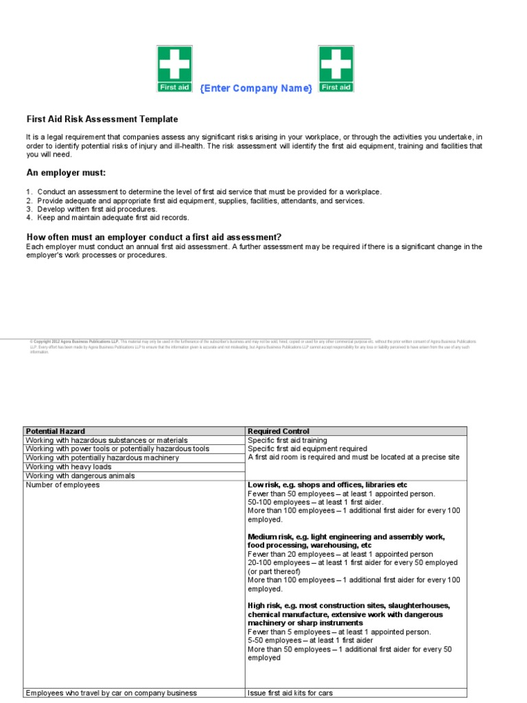 First Aid Risk Assessment Template   First Aid   Limited Liability  Partnership